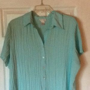 3X Chiffon Pleated Top Blouse. Turquoise. Pretty